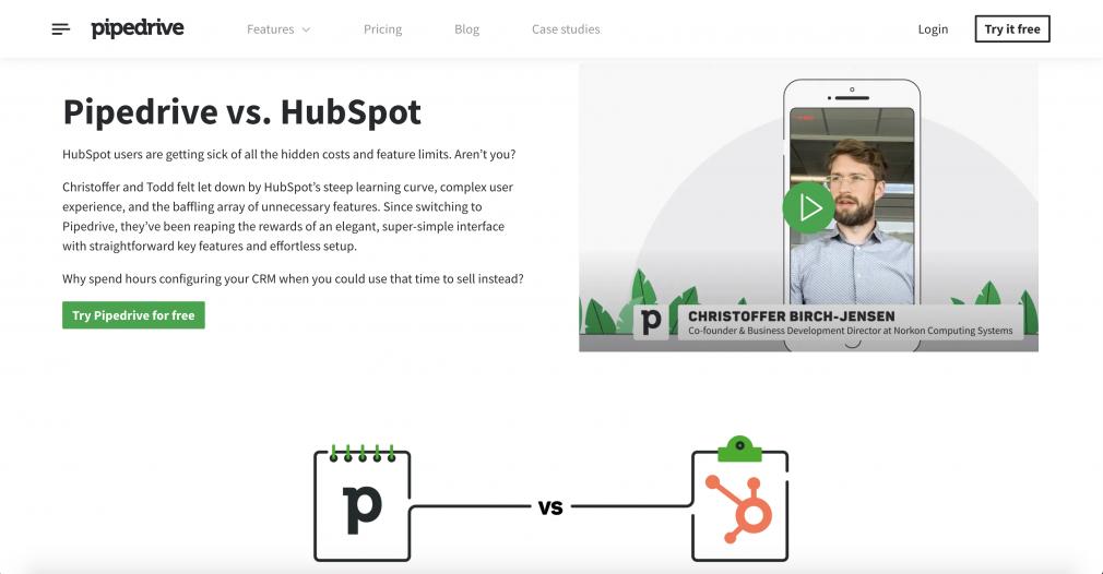 pipedrive vs hubspot - SaaS SEO using comparison