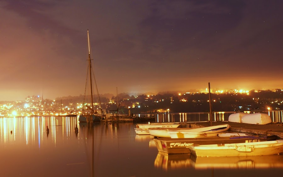 Beacon nightfall by Diane Landro - Landscapes Waterscapes ( water. night, boats, river )