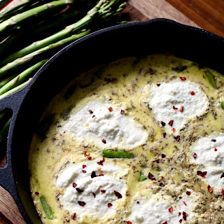 Simple Asparagus Frittata with Ricotta Cheese.