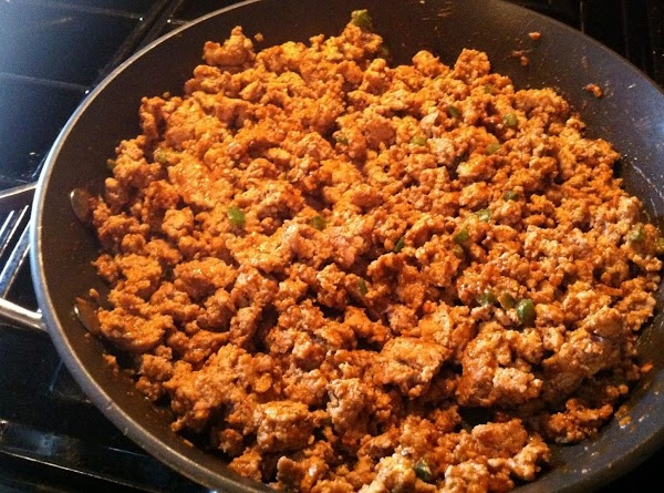 In a large pan brown turkey meat (at this point I added a minced...