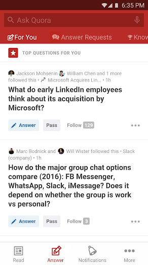 Screenshot 1 for Quora's Android app'