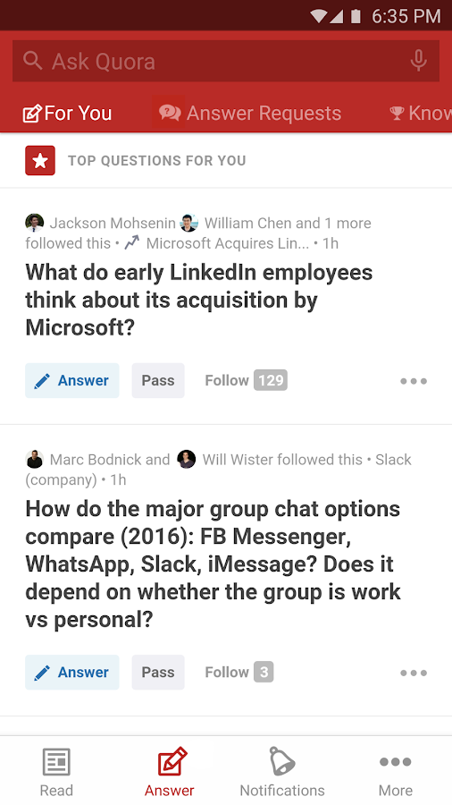 Screenshots of Quora for Android