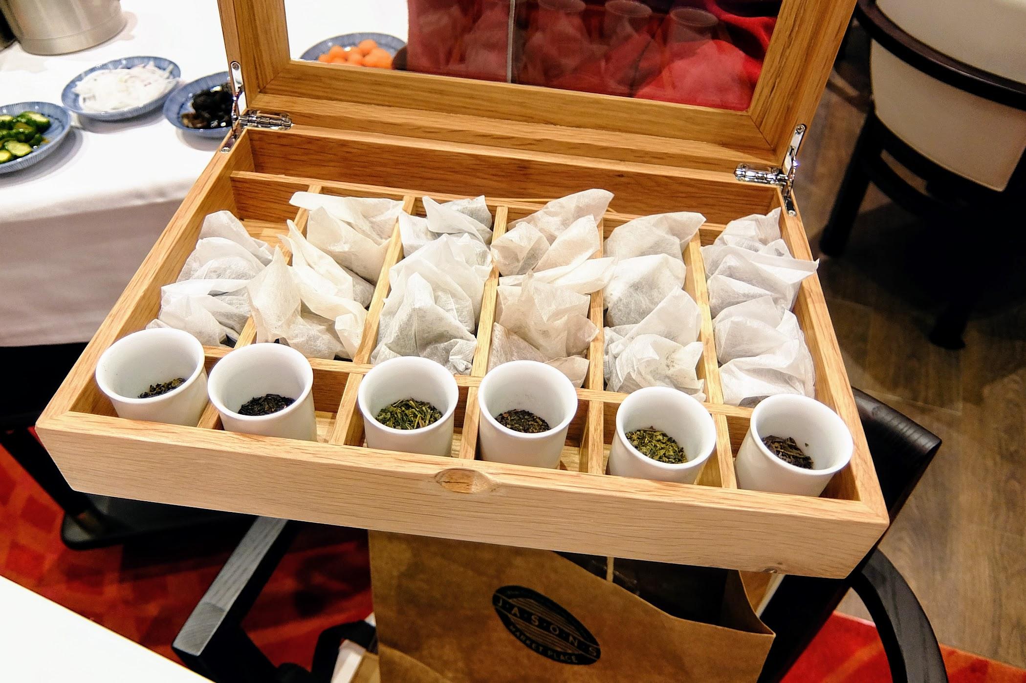 有很多種茶包和茶葉可以選擇