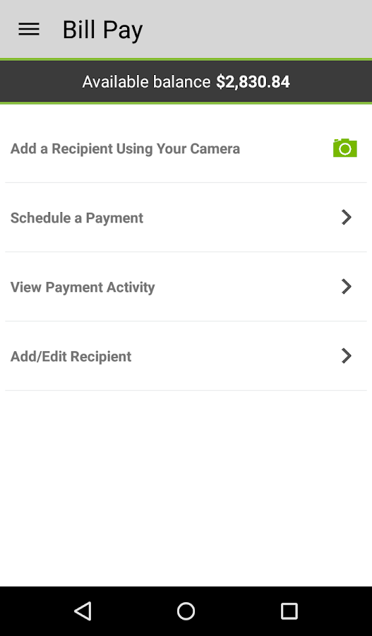 Higher One Mobile Banking App- screenshot