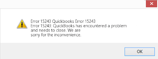 QuickBooks Error 15243 : message