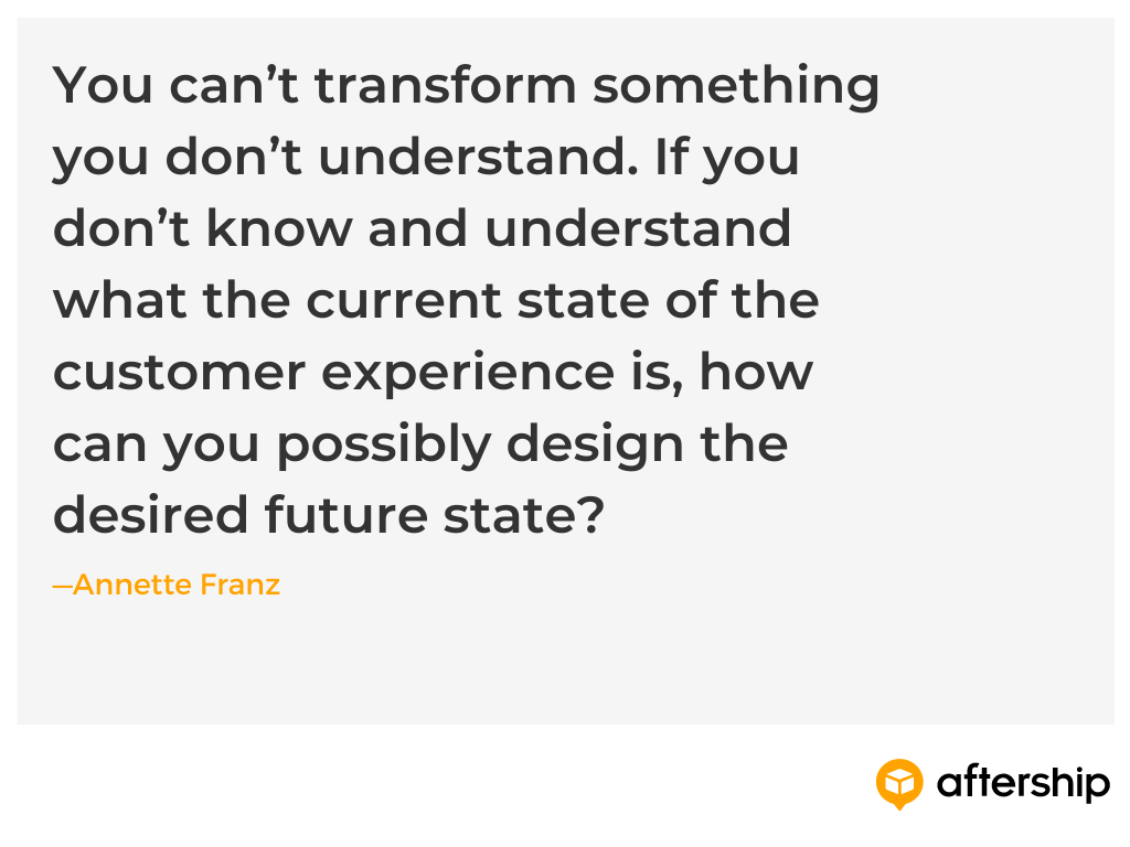 A quote from Annette Franz on the importance of understanding your customers' experience to make it better