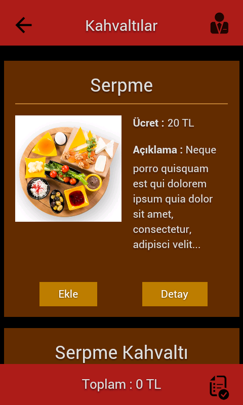 Tablet Menu- screenshot