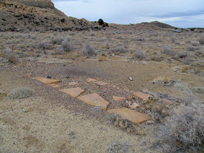Photo: Rocks and gravel that form a grid in and around the camp.  Perhaps sidewalks?