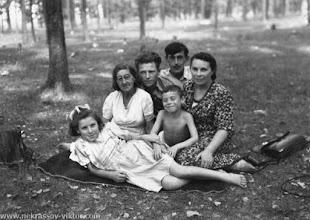 Photo: Виктор и Зинаида Николаевна Некрасовы с Мироном, женой Бэллой, Борисом, Анной Зильберманами, 1946-1947