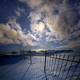 Moon Shine by Phil Koch - Landscapes Weather ( wisconsin, bluehour, night, frozen, winter, endless, ice, cold, horizon, pastel, sunlight, moon, blue, field, light, frost, snow, peace, earth, shadows, fence )