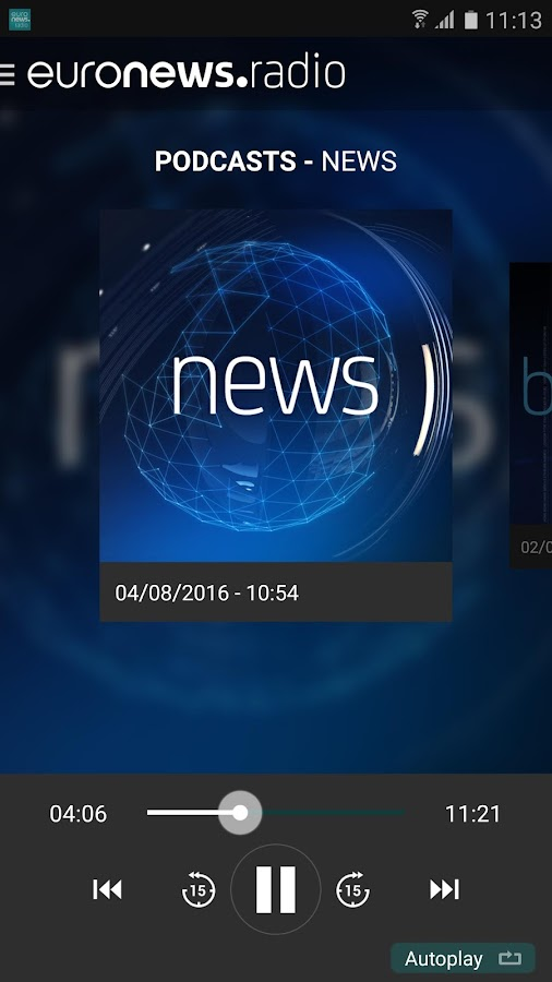 Euronews radio- screenshot