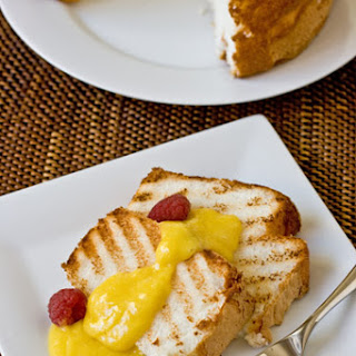 Grilled Angel Food Cake with Lemon Curd.