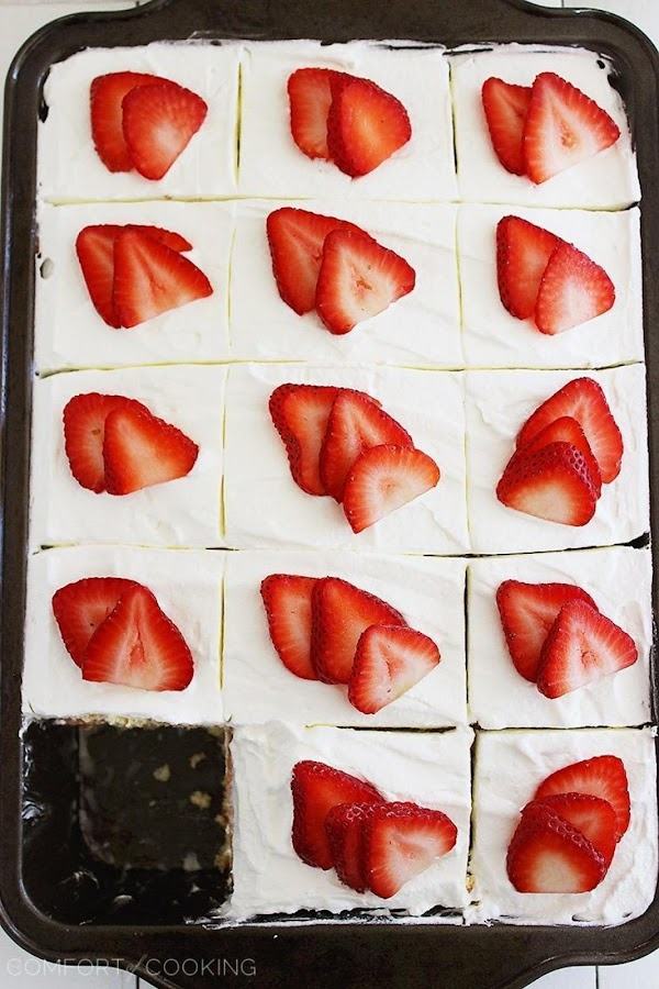 Wisconsin Strawberry Shortcake Poke Cake Recipe