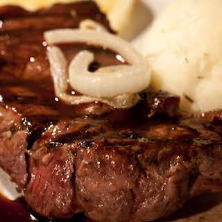 Bison Sirloin Steak with Balsamic Honey Glaze.