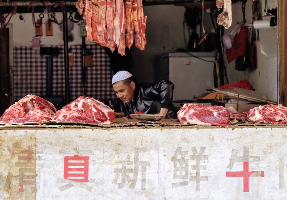 A butcher in the Muslim Quarter in Lhasa