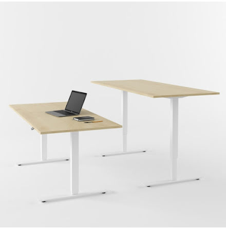 Skrivbord el vit/björk 1800x80