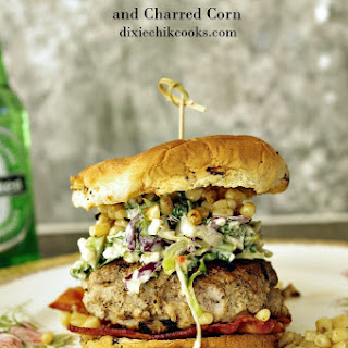 Sirloin and Pork Burger with Blue Cheese Slaw and Charred Corn.