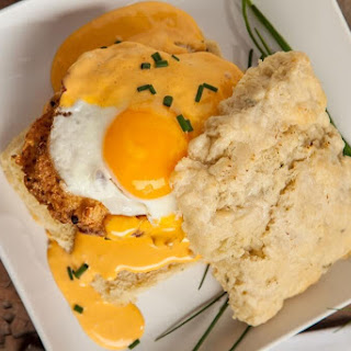 Fried Chicken Biscuits with Sriracha Hollandaise