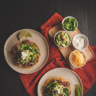 5 Ingredient Mexican Shredded Beef and Beef Tostadas.