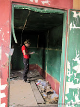 Photo: Liz takes notes inside an abandoned boxcar (where we caught the male with the longest streamers ever! [141mm, if you were curious!])