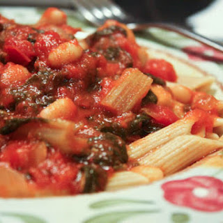 Swiss Chard with White Beans in Tomato Sauce over Pasta