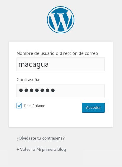 Inicio de sesión de usuario WordPress