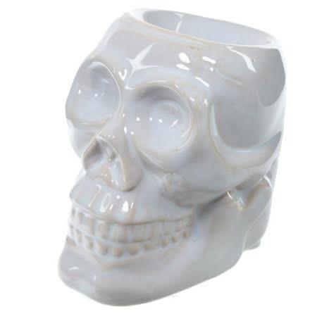 Aromalampa i Keramik Dödskalle Vit