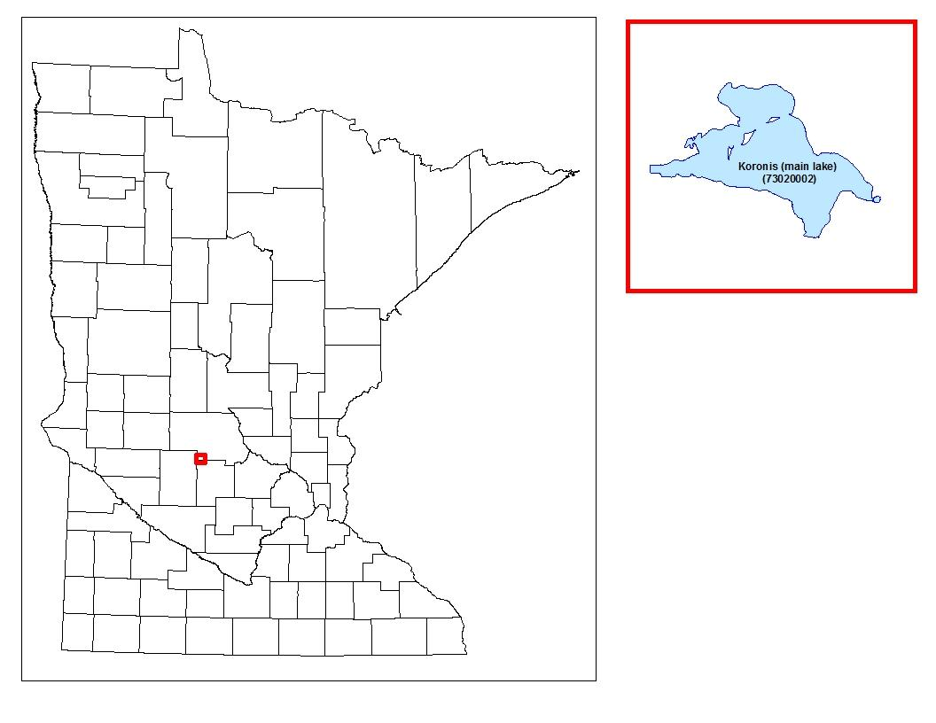 Map of where Koronis Lake is located in the state.