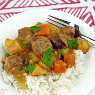 Slow Cooker Curried Sausages.
