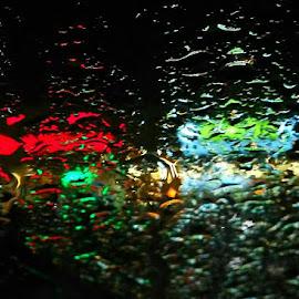 Lights of night thru rain-spattered windscreen by Govindarajan Raghavan - Abstract Water Drops & Splashes (  )