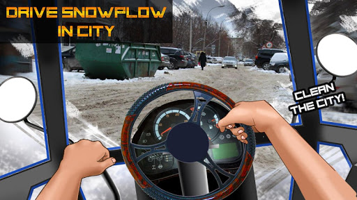 Drive Snowplow in City