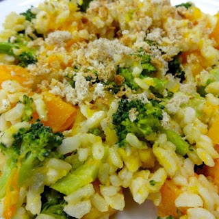 Shortcut Brown Rice Risotto with Caramelized Onions, Butternut Squash, and Broccoli.