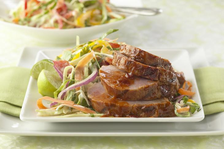 Smoke and Fire Pork Tenderloin with Sweet Onion Slaw Recipe