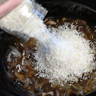 Slow Cooker Mushroom Chicken Rice.