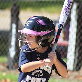 Batter Up! by Rick Touhey - Sports & Fitness Baseball ( helmet baseball, batting, softball, youth softball,  )