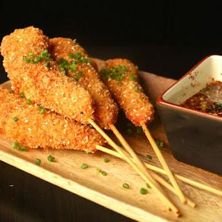 Fried Crispy Shrimp Skewers.