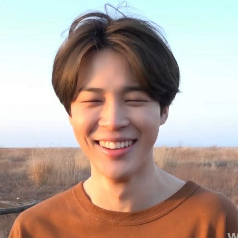 jimin eye smile in brown shirt