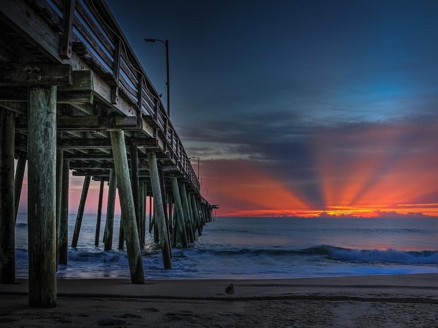 by Paul Glinowiecki - Landscapes Waterscapes ( sun rise, waterscape, pier, beach, landscape, sun rays,  )