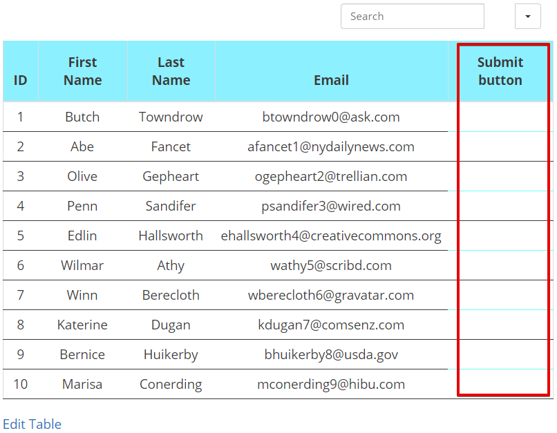 submit forms in WordPress table