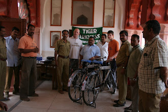 Photo: Philip making the presentation of cycles and binoculars in Ranthambhore in 2007