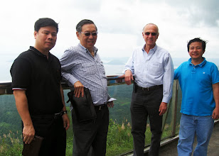 Photo: 23 August 2013 - Tour at the Tagaytay Highlands Bach Nguyen, Victor Lim, Luis Ortiz Hidalgo and Thanh Nguyen with the Taal Volcano in the background