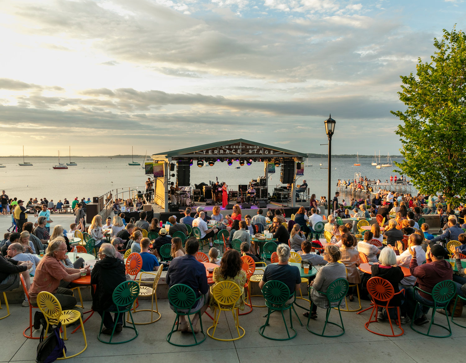 Memorial Union Terrace for live music and spectacular views of the sun setting over Lake Mendota - Sober City Guide of Madison, Wisconsin
