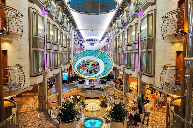 The classy Centrum or atrium on Royal Caribbean's Mariner of the Seas.