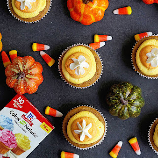 Pumpkin Cupcakes with Candy Corn Buttercream