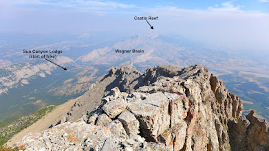 Photo: Looking north from summit of Sawtooth. This is a climb that I did several weeks after the Castle Reef and Wagner Basin hikes. It was a little smokey on the day I took this picture. On this hike a friend and I started at the lodge at 7:30 am and reached the top at 10:30. (almost 5 miles and 3,500 ft. gain) - This adventure may be a future blog post.