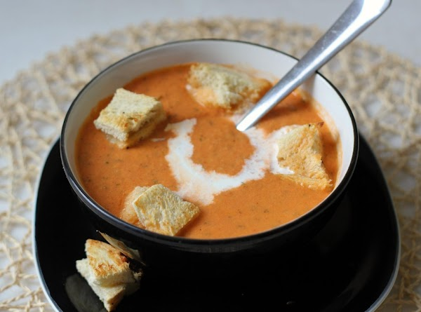 Tomato Basil Soup With Grilled Cheese Croutons Recipe