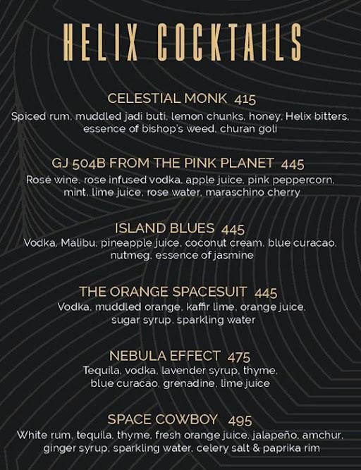 Helix- The Celestial Bar menu 1