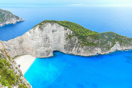 Ponant-Greece-beach.jpg - The cove at Navagio Beach, or Shipwreck Beach, on the coast of Zakynthos in the Ionian Islands of Greece.