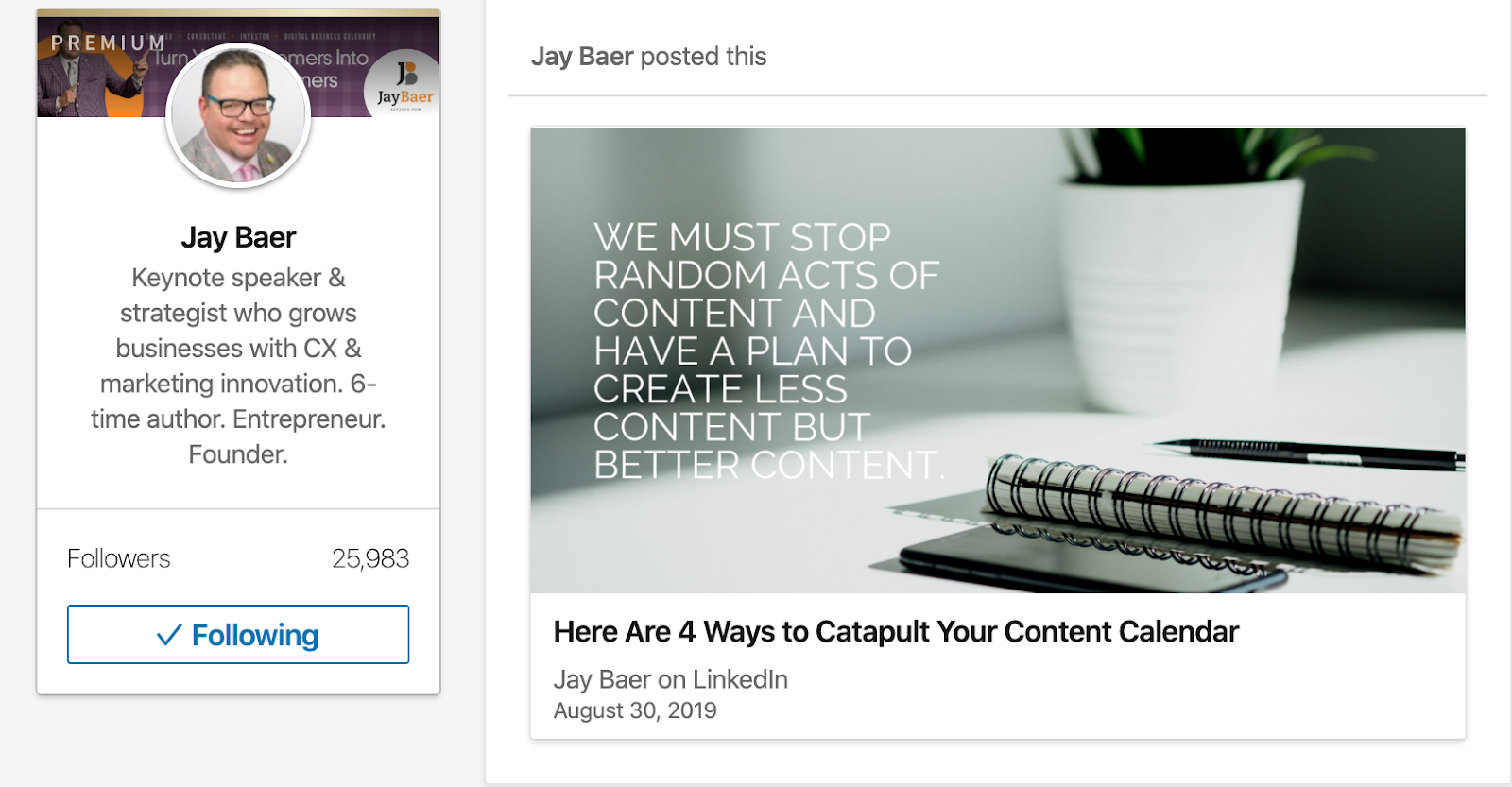 Jay Baer post on LinkedIn