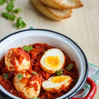 Hard Boiled Eggs in Spicy Tomato Sauce.